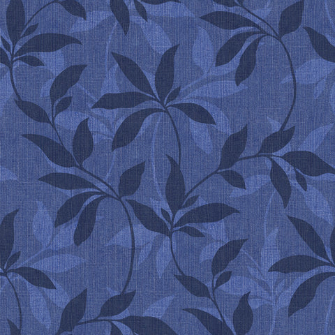 Leafy Denim Scroll Wallpaper - Indigo