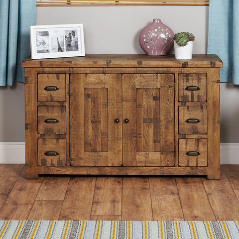 Heyford Rough Sawn Oak Six Drawer Sideboard -Heyford Rough Sawn Oak Six Drawer Sideboard - Living Room by Baumhaus available from Harley & Lola - 1