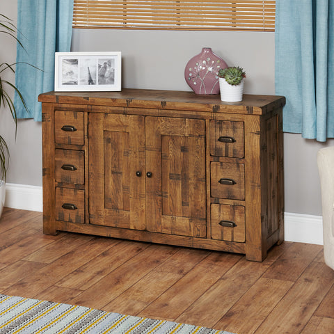 Heyford Rough Sawn Oak Six Drawer Sideboard
