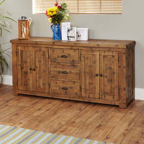 Heyford Rough Sawn Oak Large Sideboard -Heyford Rough Sawn Oak Large Sideboard - Living Room by Baumhaus available from Harley & Lola - 1