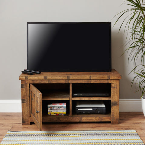 Heyford Rough Sawn Oak One Door Television Cabinet