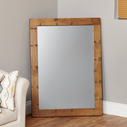 Heyford Rough Sawn Oak Chunky Wall Mirror - - Living Room by Baumhaus available from Harley & Lola - 1