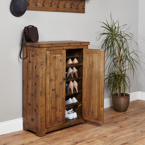 Heyford Rough Sawn Oak Shoe Cupboard