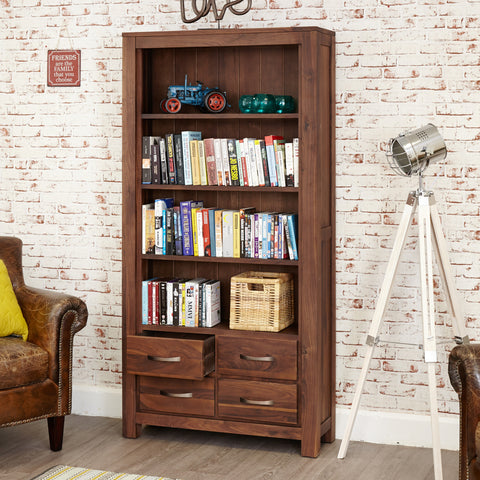 Baumhaus Mayan Walnut Large 4 Drawer Bookcase