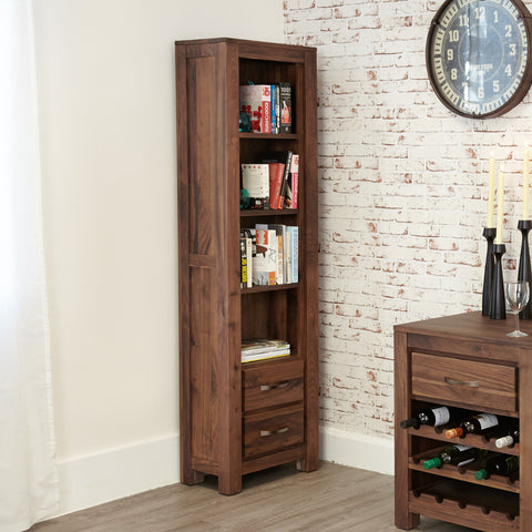 Baumhaus Mayan Walnut Narrow Bookcase