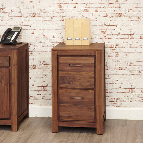 Mayan Walnut Two Drawer Filing Cabinet