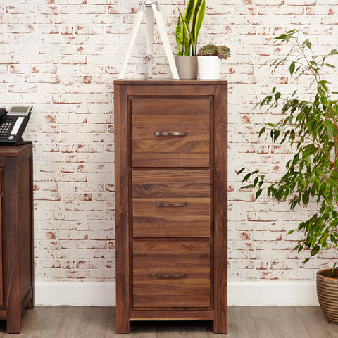 Baumhaus Mayan Walnut 3 Drawer Filing Cabinet