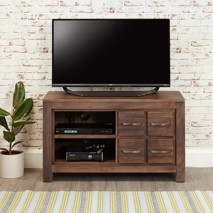 Mayan Walnut Four Drawer Television Cabinet - - Living Room by Baumhaus available from Harley & Lola - 2