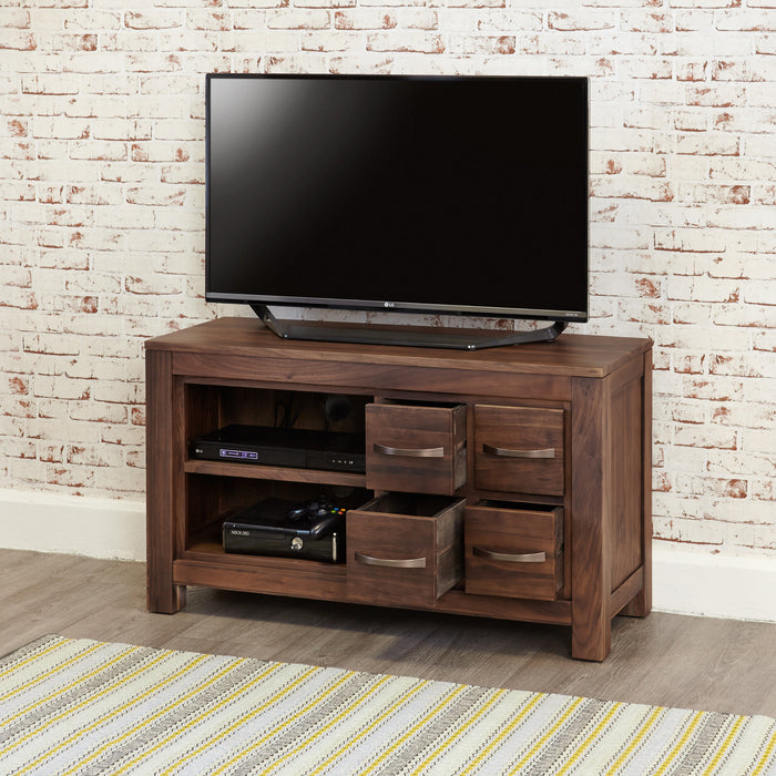 Mayan Walnut Four Drawer Television Cabinet - - Living Room by Baumhaus available from Harley & Lola - 4