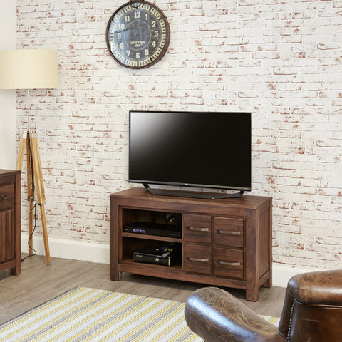 Mayan Walnut Four Drawer Television Cabinet - - Living Room by Baumhaus available from Harley & Lola - 1
