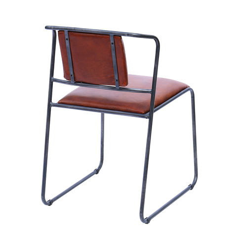 Explorer Iron Framed Chair with Vintage Leather Seat