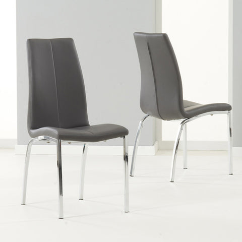 Carsen Leather & Chrome Chairs (Pair)