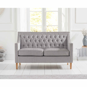 Mark Harris Casa Bella Grey Plush Fabric 2 Seater Sofa with Natural Ash Wood Legs (2 Cushions Included)