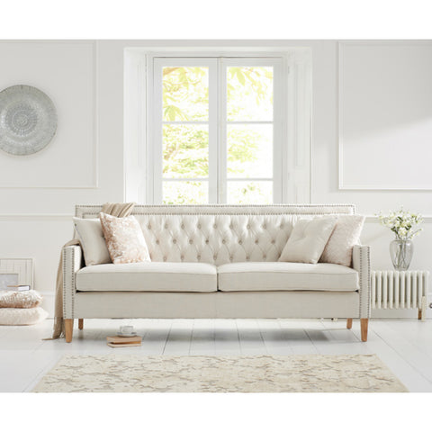 Mark Harris Casa Bella Ivory Fabric 3 Seater Sofa with Natural Ash Wood Legs (2 Cushions Included)