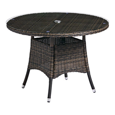 ZAP Clova 110 Dia Dining Table - Brown Weave - Glass Top
