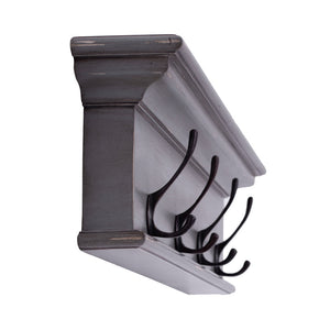 Novasolo Halifax 4 Hook Coat Rack - Grey Brown