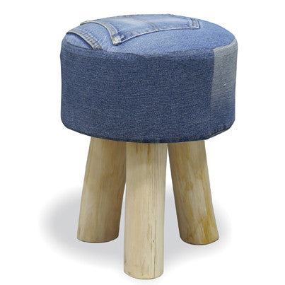 Genoa Denim Round Low Stool