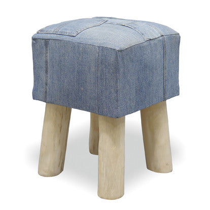 Genoa Denim Square Low Stool