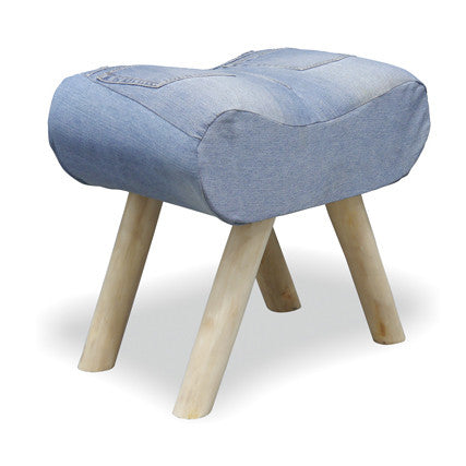 Genoa Denim Low Saddle Stool - - Living Room by Bluebone available from Harley & Lola