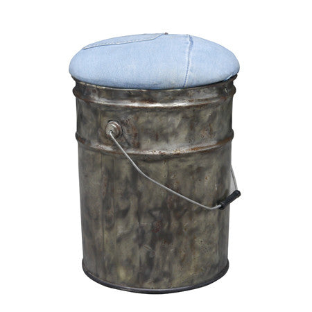Genoa Denim Covered Tin Stool