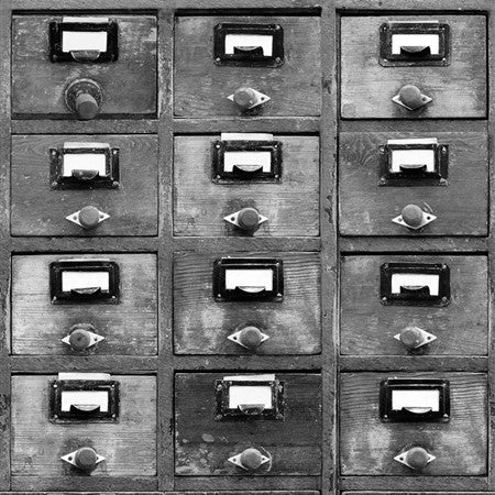 Vintage Drawers Black and White Wallpaper