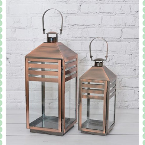 Copper Hurricane Lantern Set