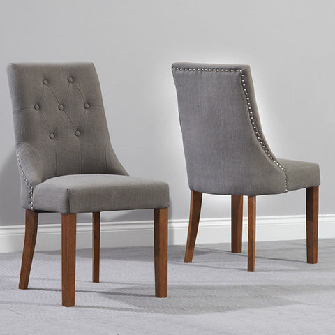Pailin Solid Dark Oak And Fabric Chairs (Pairs) by Harley & Lola