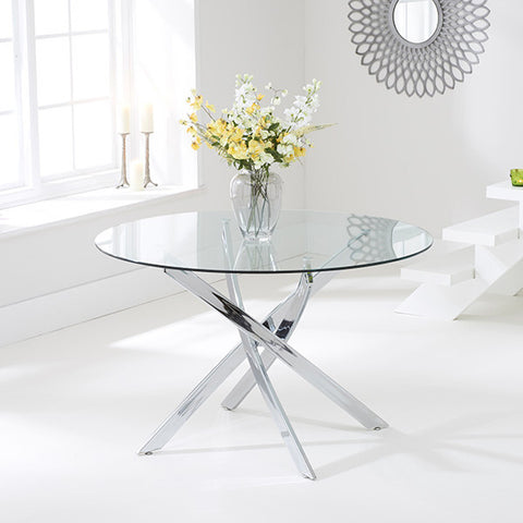 Daytona 110cm Round Glass Dining Table