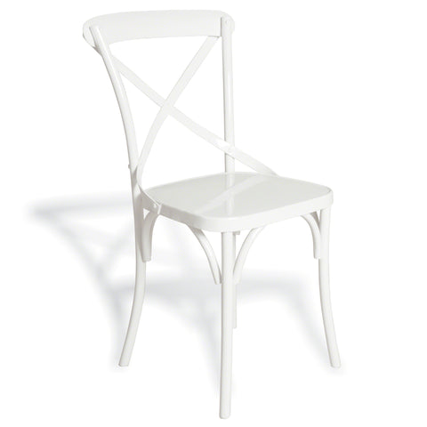 Hoxton Metal Cross Back Cafe Chair -Hoxton Metal Cross Back Cafe Chair Solid White - Living Room by Bluebone available from Harley & Lola