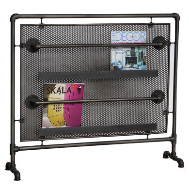 Hoxton Magazine Rack Perforated Steel and Pipes -Hoxton Magazine Rack Perforated Steel and Pipes - Living Room by Bluebone available from Harley & Lola