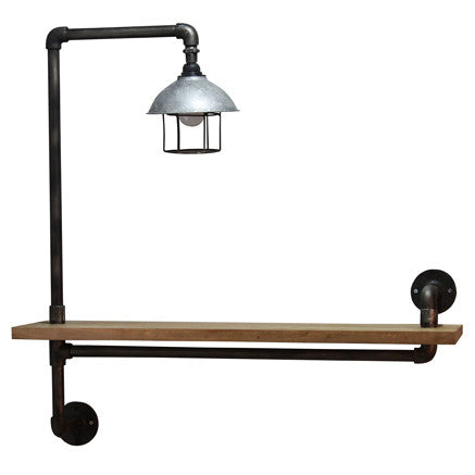 Hoxton Recycled Wall Light -Hoxton Wall Light with Rack Teak & Pipe - Living Room by Bluebone available from Harley & Lola