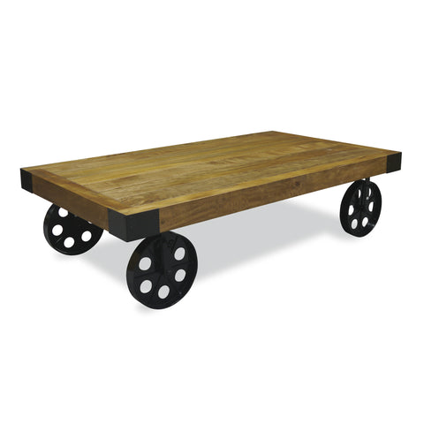 Hoxton Industrial Coffee table with Wheels -Hoxton Industrial Coffee table with Wheels - Living Room by Bluebone available from Harley & Lola