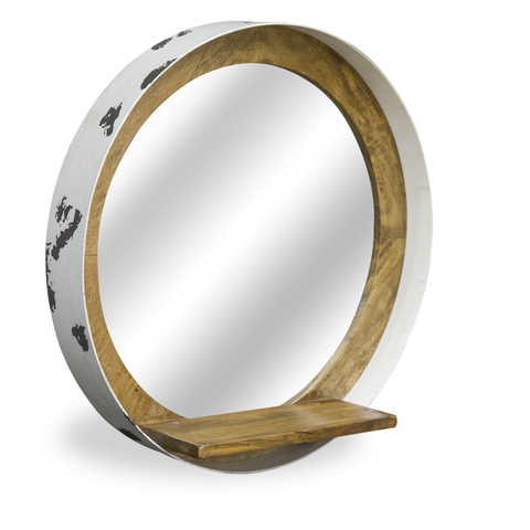 Hoxton Porthole Mirror with White Recycled Drum