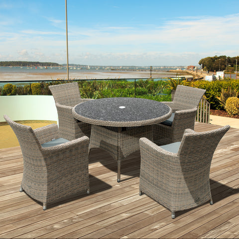 Oseasons® Eden Rattan 4 Seater Dining Set in Chic Walnut