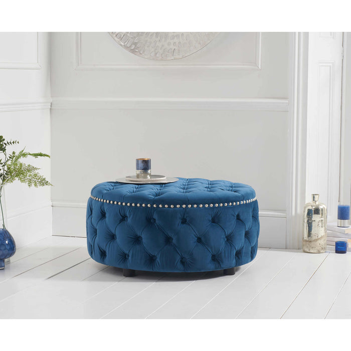Mark Harris Fiona Green Velvet Round Footstool