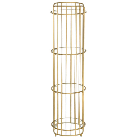 Hoxton Round Shelf unit Gold with Glass Shelves