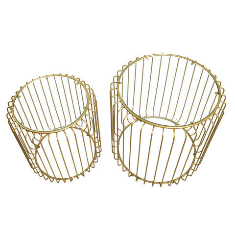 Hoxton Birdcage Nest of Tables Gold with Glass Top