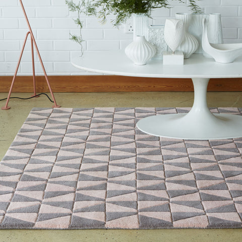 Plantation Rug Co. Geometric Triangle Pink and Grey