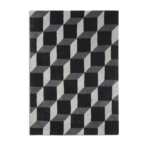 Plantation Rug Co. Geometric Cube Black and White