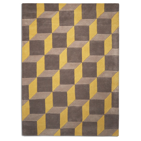 Plantation Rug Co. Geometric Cube Grey and Yellow