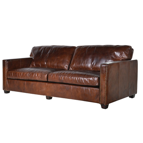 Harper Brown Leather 3 Seater Sofa
