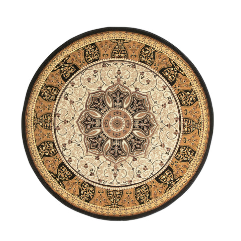 Think Rugs Heritage 4400 Black/Cream Circle