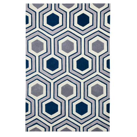 Think Rugs Hong Kong 3661 Grey/Navy