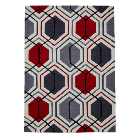 Think Rugs Hong Kong 7526 Cream/Red