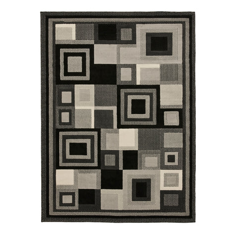Think Rugs Hudson 3222 Black/Grey