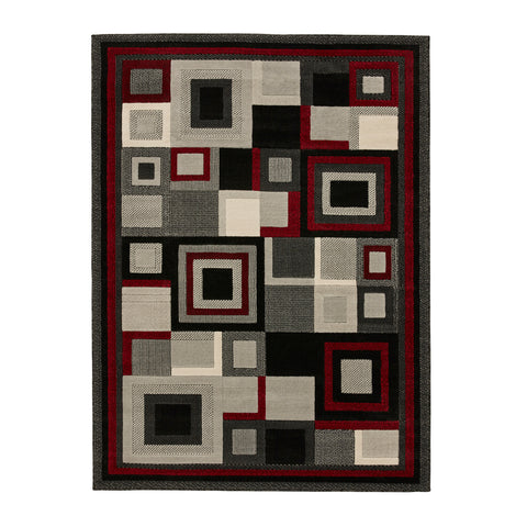 Think Rugs Hudson 3222 Black/Red
