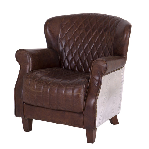 Explorer One Seater Leather & Aluminium Arm Chair