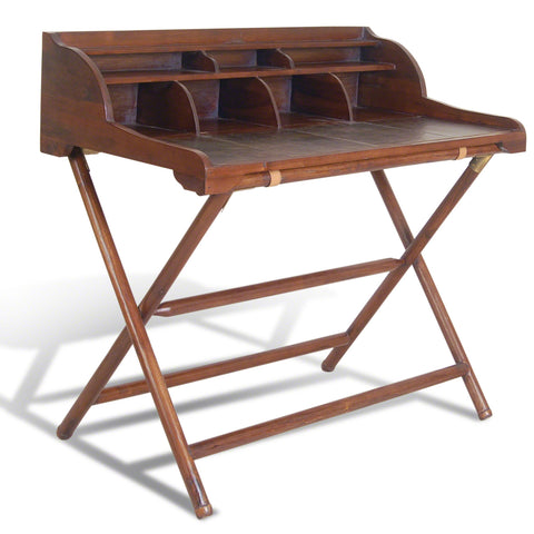 Capri Leather Writing Desk -Capri Leather Teak and Leather Writing Desk with Rack - Living Room by Bluebone available from Harley & Lola