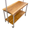 Hoxton Mango Wood Kitchen Island with Pot Rack