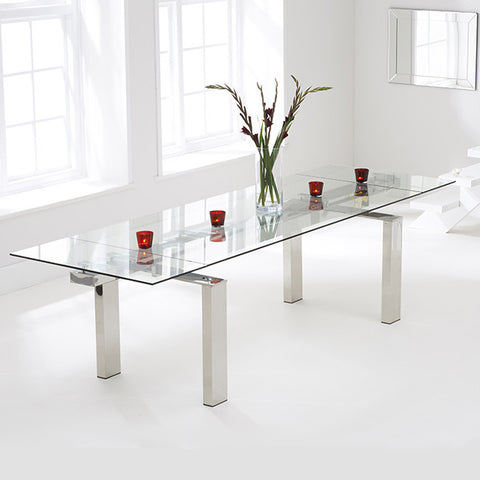 Mark Harris Lunetto Glass Extending Dining Table